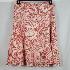 GAP Skirt/A Line/Red/Off White/Size: 14 (490)